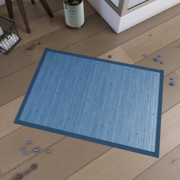 Tapis de bain 80x50cm Antidérapant et 100% Bambou - KOUROU TURQUOISE