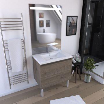 Meuble de salle de bain 80x50x89cm en MDF effet chêne naturel - 2 tiroirs dont 1 tiroir à l'anglaise - avec miroir LED -  ORGANIC 80 BROWN