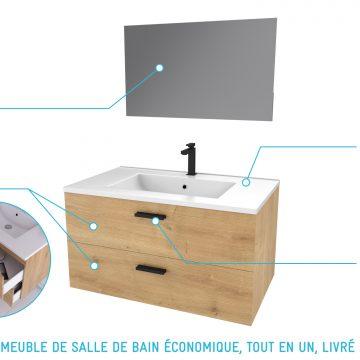 Meuble salle de bain 80 cm monte suspendu decor bois H46xL80xP45cm - avec tiroirs - vasque et miroir