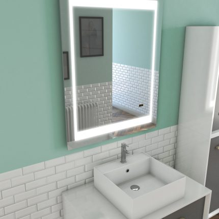 Miroir salle de bain LED auto-éclairant CHRONOS 70x90cm