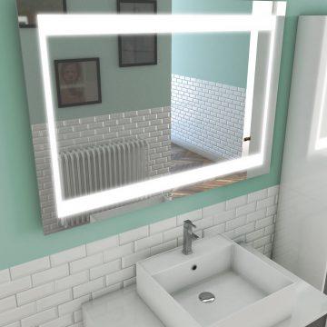 Miroir salle de bain LED auto-éclairant CHRONOS 100x70cm