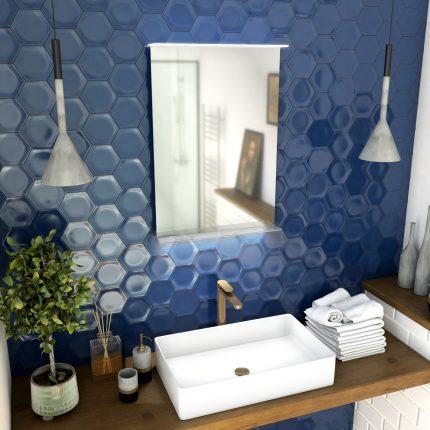 Miroir salle de bain 52x70x5cm avec éclairage LED et étagère