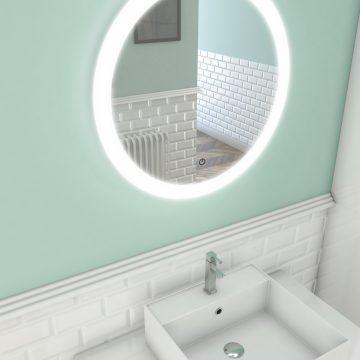 Miroir salle de bain LED auto-éclairant CIRCLE ATMOSPHERE diamètre 59cm