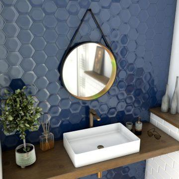 Miroir salle de bain rond - diamètre 55cm - noir mat  et finition bronze - CIRCLE HORUS