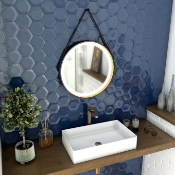 Miroir salle de bain rond - diamètre 55cm - noir mat et finition bronze - CIRCLE HORUS LED