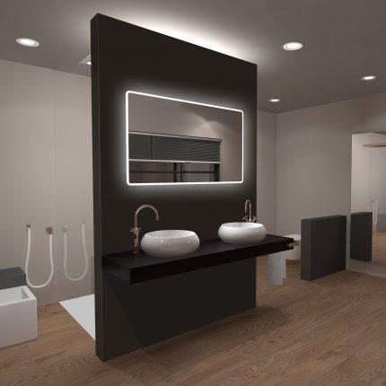 Miroir salle de bain LED rectangulaire auto-éclairant 120x70cm - Ulysse LED 120