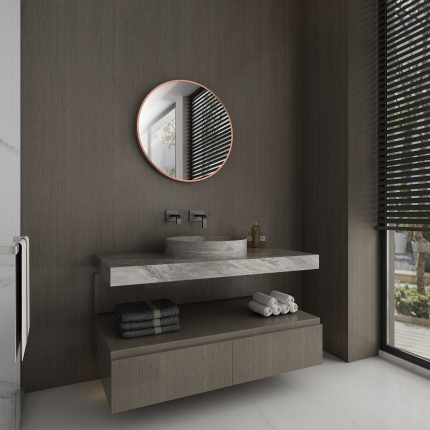 Miroir salle de bain circulaire 60cm de diametre - finition cuivre - RING BRASSY 60