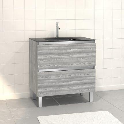 Pack Meuble de salle de bain 80x50 cm Chêne gris-blanc - 2 tiroirs - vasque en verre noir