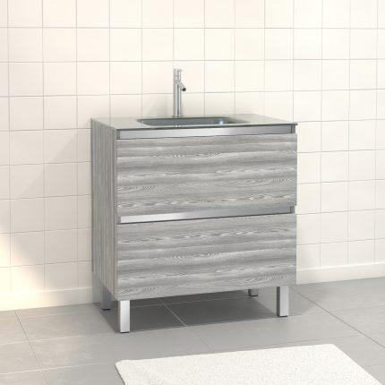 Pack Meuble de salle de bain 80x50 cm Chêne gris-blanc - 2 tiroirs - vasque en verre Argent