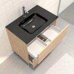 Pack Meuble de salle de bain 80x50 cm Chêne blond - 2 tiroirs - vasque verre noir + miroir LED