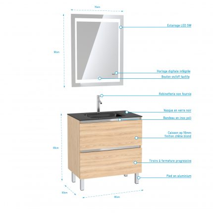Meuble de salle de bain 80x50 cm Chêne blond - 2 tiroirs - vasque verre noir + miroir LED