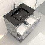 Pack Meuble de salle de bain 80x50 cm Chêne gris-blanc + vasque verre noir + miroir LED 70x90