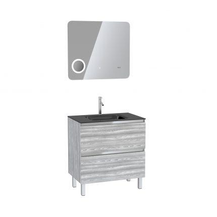 Pack Meuble de salle de bain 80x50 cm Chêne gris-blanc + vasque verre noir + miroir LED 80x70