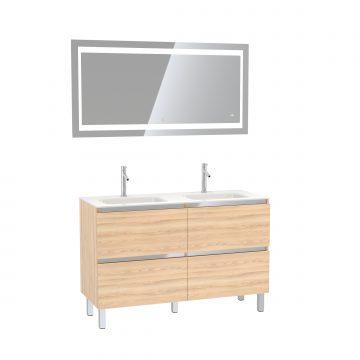 Pack meuble de salle de bain 130x50 cm finition Chêne blond + vasque verre blanc + Miroir LED 140x70