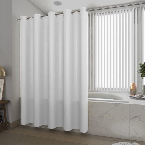 Rideau de douche et baignoire - 180x200 - Polyester - BLANC