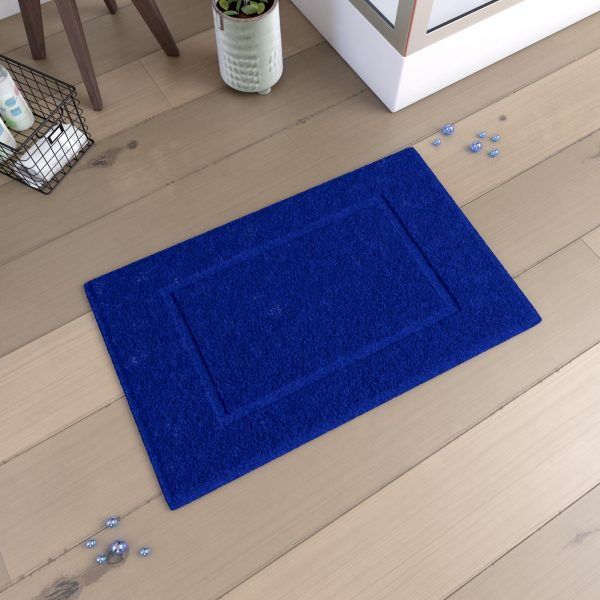 Tapis de bain 60x90cm Antidérapant et 100% Coton - VELOUTE BLEU