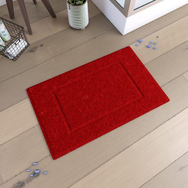 Tapis de bain 60x90cm Antidérapant et 100% Coton - VELOUTE ROUGE