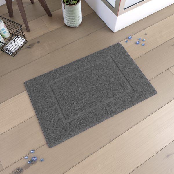 Tapis de bain 60x90cm Antidérapant et 100% Coton - VELOUTE GRIS