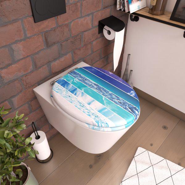 Abattant pour WC à motif - en MDF et charnières en métal - PLAYA