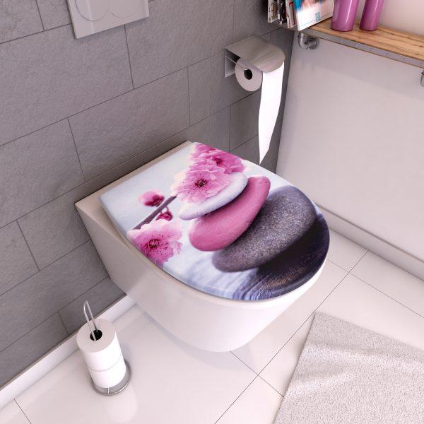 Abattant pour WC à motif - Thermodur et double frein de chute - ZEN PINK