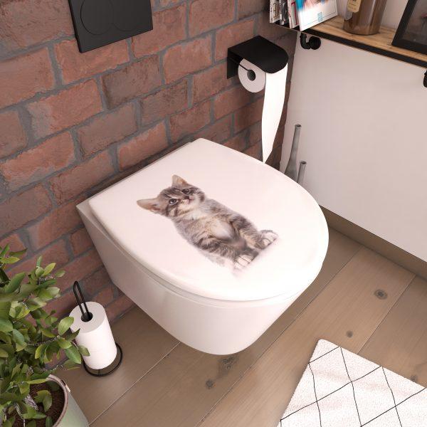 Abattant pour WC à motif - Thermodur et charnières en métal double frein de chute - CAT