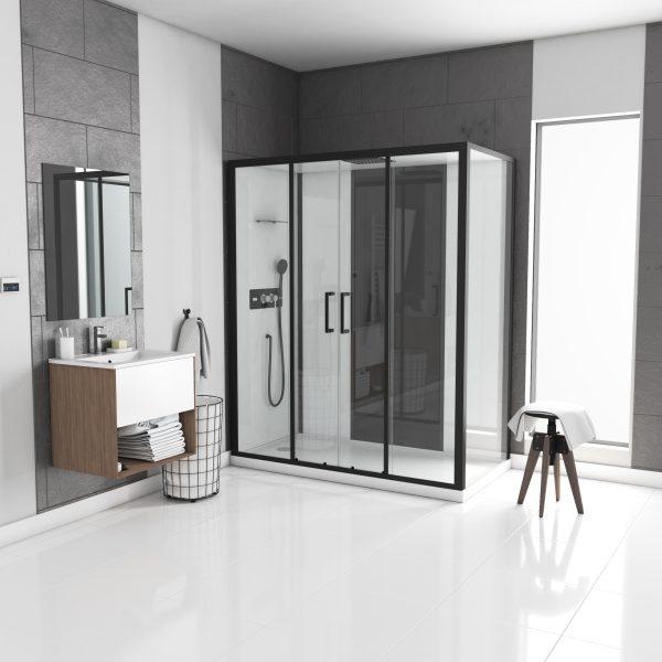 Cabine de douche rectangle 170x90x205cm - blanche avec profile noir mat receveur plat - INFINITY LOW