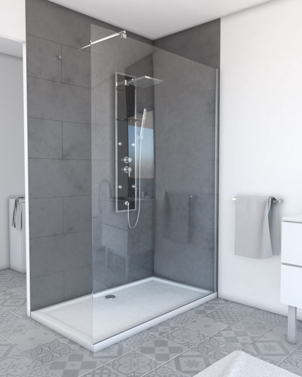 Paroi de douche à l'italienne FREEDOM 2 TRANSPARENT 140 - 140x200cm VERRE TRANSPARENT 8mm