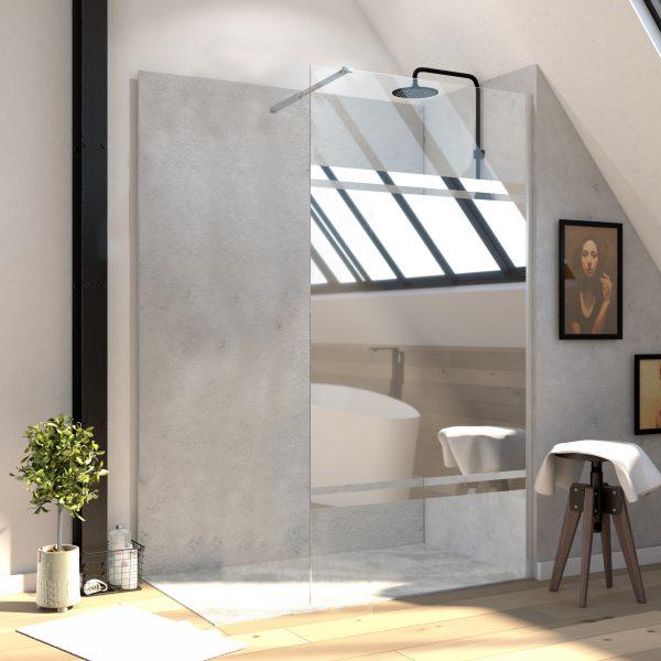 Paroi de douche 90x200 cm a l'italienne avec bras de fixation extensible - verre 8mm - bande miroir