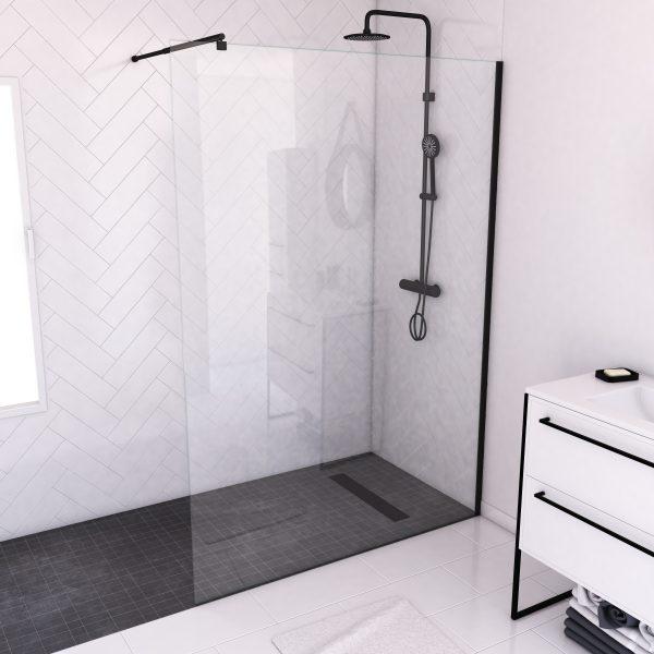Paroi de douche a l'italienne transparent 140x200cm - Profile noir mat - verre transparent 8mm