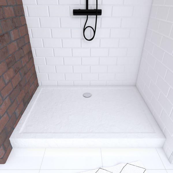 Receveur haut a poser 120x80x11CM - acrylique renforce blanc effet pierre - anti-derapant