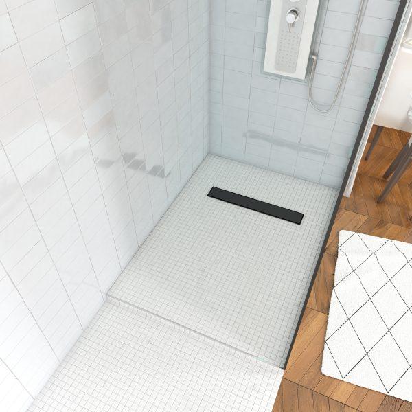 Receveur de douche a carreler 80x120cm - bonde caniveau noir mat