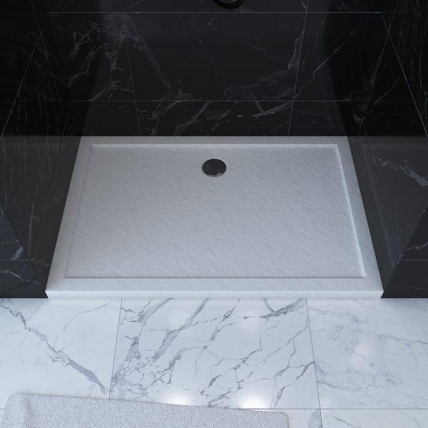 Receveur de douche a poser rectangle extra plat en acrylique renforcee blanc - finition pierre