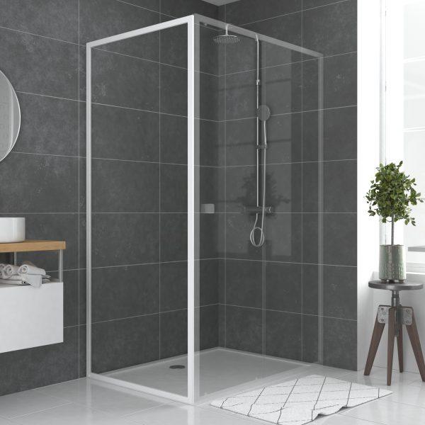 Paroi porte de douche blanc  RETOUR  90x185cm  pour porte -  verre transparent 5mm - WHITY SIDE 90