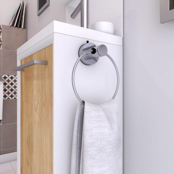 Porte serviette a ventouse pour salle de bains - support serviette anneau - via syteme vide d'air