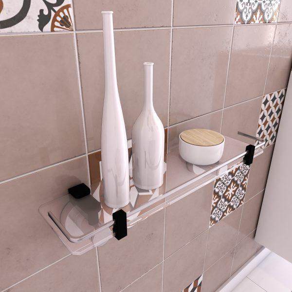 Tablette pour salle de bains - porte shampoing a ventouse - sans clou ni vis via syteme vide d'air