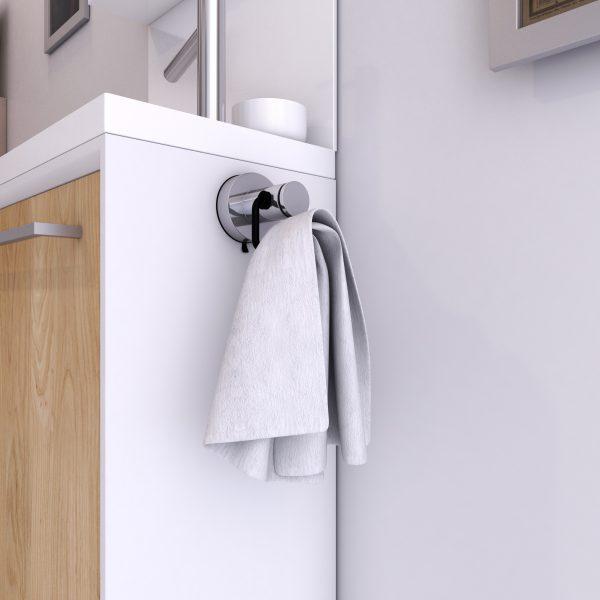 Patere 2 crochets pour salle de bains - support serviette - sans clou ni vis via syteme vide d'air
