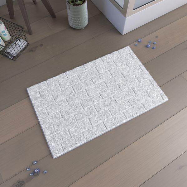 Tapis de bain 80x50cm Antidérapant et 100% Coton - METRO BLANC