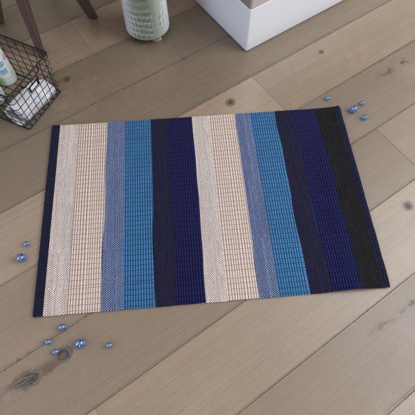 Tapis de bain 85x55cm Antidérapant - composition Viscose-Coton - BEAUTY BLEU