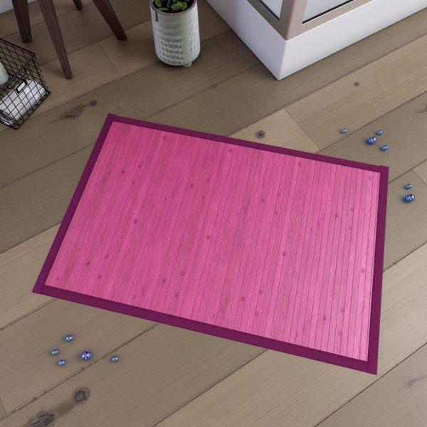 Tapis de bain 80x50cm Antidérapant et 100% Bambou - KOUROU ROSE