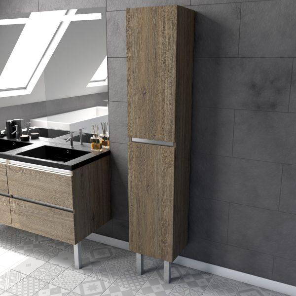Colonne de salle de bain chêne naturel 30x35x190 cm avec 2 portes - ORGANIC BROWN COLUMN