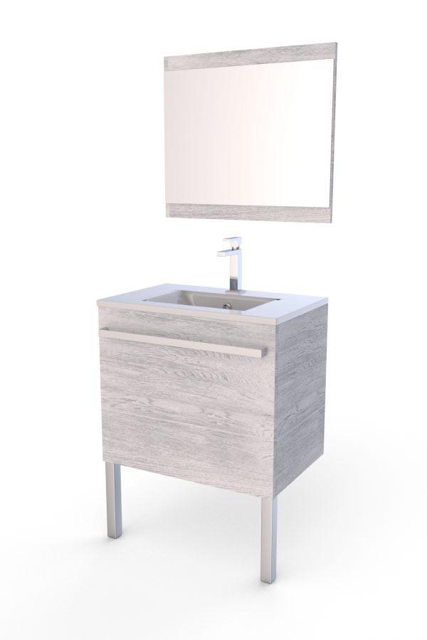Meuble de salle de bain BRITANY chêne gris-blanc