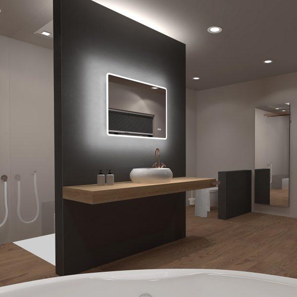 Miroir salle de bain LED rectangulaire auto-éclairant 80x70cm - Ulysse LED 80