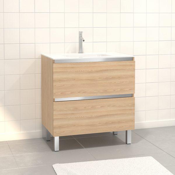 Pack Meuble de salle de bain 80x50 cm Chêne blond - 2 tiroirs - vasque en verre blanc
