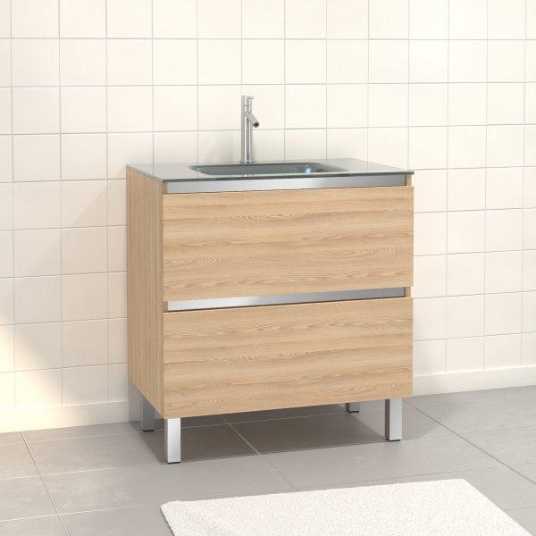 Pack Meuble de salle de bain 80x50 cm Chêne blond - 2 tiroirs - vasque Argent