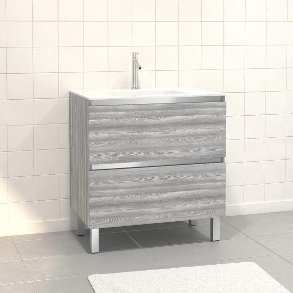 Pack Meuble de salle de bain 80x50 cm Chêne gris-blanc - 2 tiroirs - vasque en verre blanc