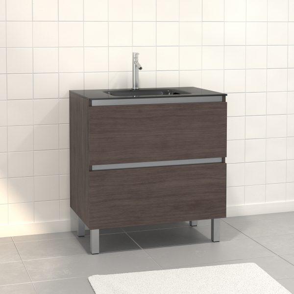 Pack Meuble de salle de bain 80x50 cm Graphite - 2 tiroirs - vasque en verre noir
