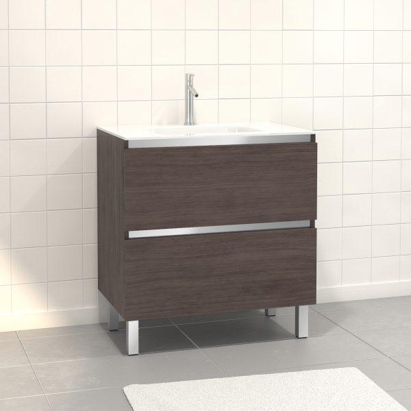 Pack Meuble de salle de bain 80x50 cm Graphite - 2 tiroirs - vasque en verre blanc