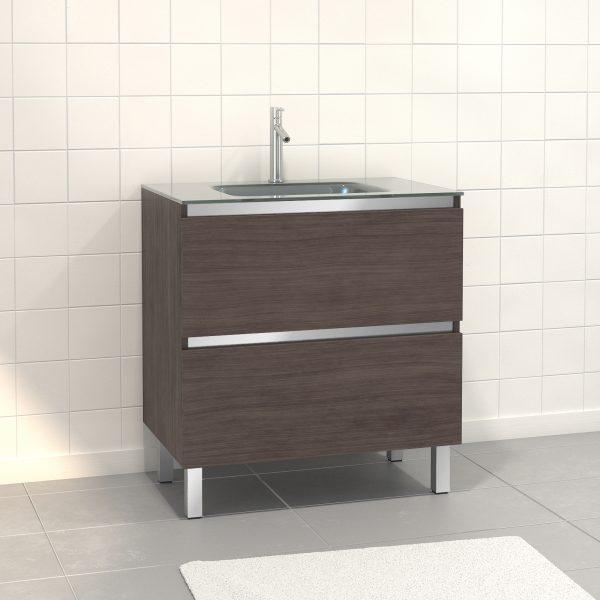 Pack Meuble de salle de bain 80x50 cm Graphite - 2 tiroirs - vasque en Argent