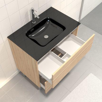 Meuble de salle de bain 80x50 cm Chêne blond - 2 tiroirs - vasque verre noir + miroir LED 80x70