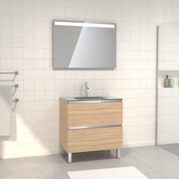Pack Meuble de salle de bain 80x50 cm Chêne blond + vasque Argent + miroir LED 80x60